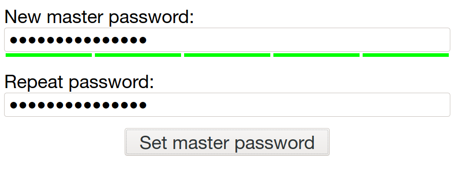 Long master password with all bars green