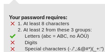 A website enforcing particularly specific password rules